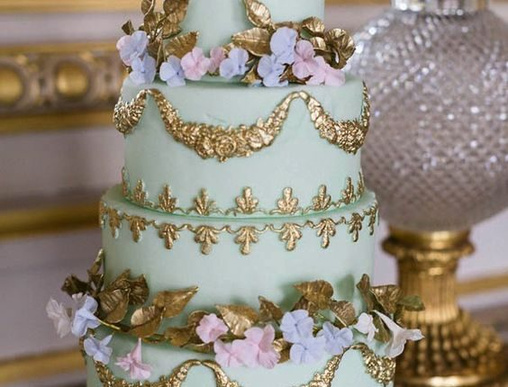 mint and gold baroque wedding cake