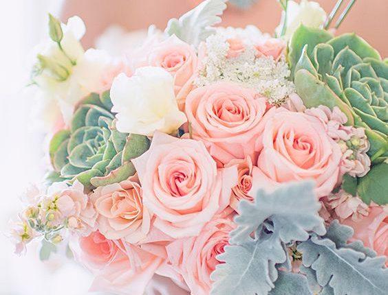 mint, peach and succulent bouquet