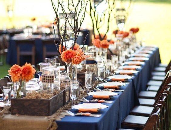 navy and orange burlap wedding table decor