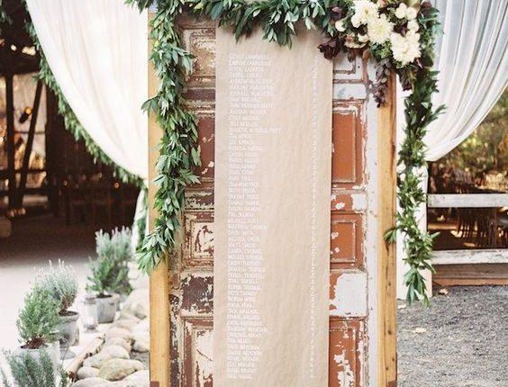 old door seating chart with kraft paper wedding backdrop
