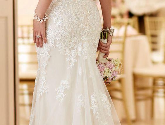 open back mermaid lace wedding dress