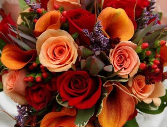 orange and deep red fall wedding bouquet