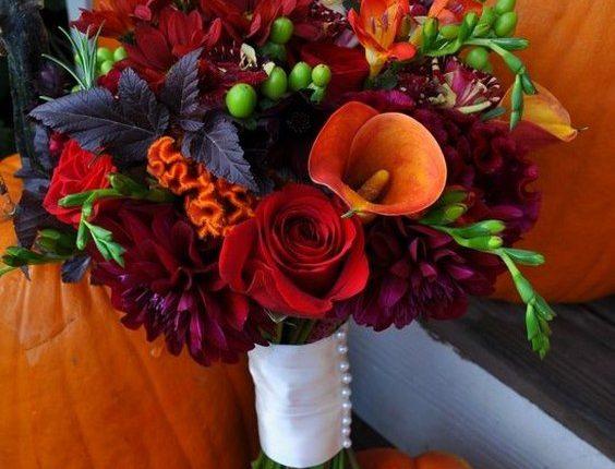 orange deep red and plum fall wedding bouquet