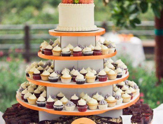 orange fall wedding cupcake idea