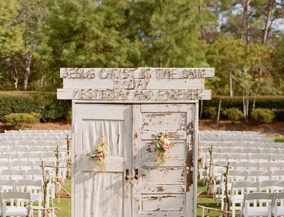 outdoor vintage old door wedding backdrop