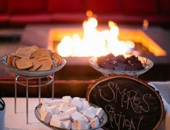 outdoor wedding lounge complete with a s'mores bar
