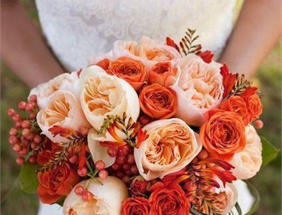 peach and orange garden roses wedding bouquet