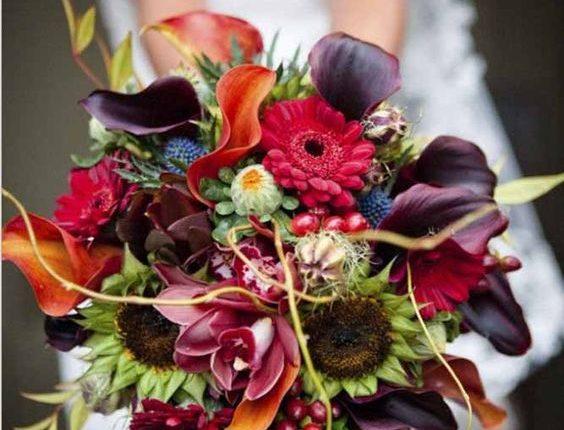 plum and orange fall wedding bouquet