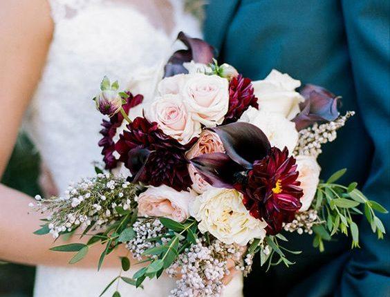 plum fall wedding bouquet