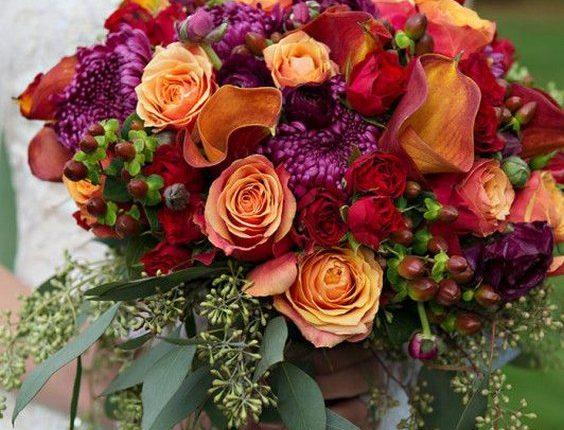 purple and orange fall wedding bouquet