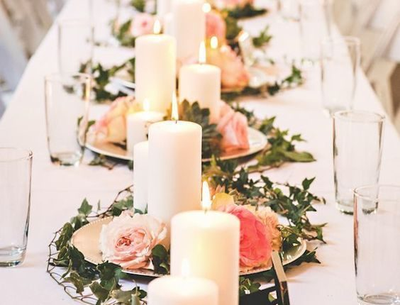 roses and candles succulent wedding centerpiece