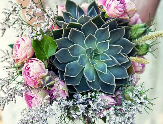 roses and succulent wedding bouquet