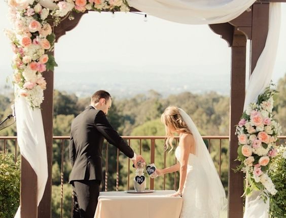 roses, peonies wedding arch
