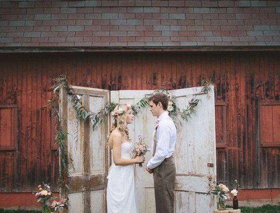 rustic barn old door wedding backdrop