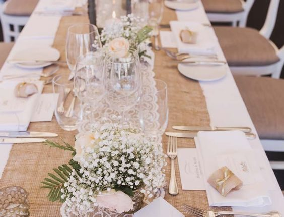 rustic burlap and lace wedding table runner
