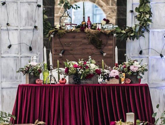 rustic country burgundy wedding sweetheart table 2