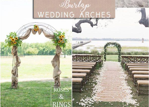 rustic country burlap wedding arch ideas