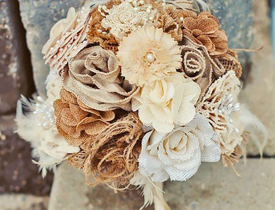 rustic country burlap wedding bouquet
