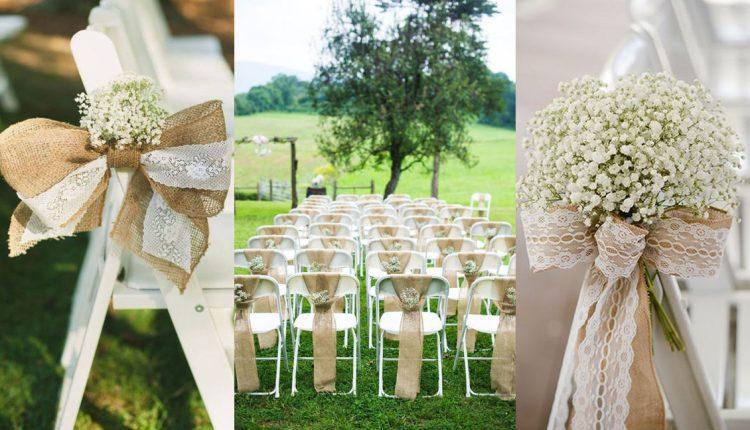 rustic country burlap wedding chair decor