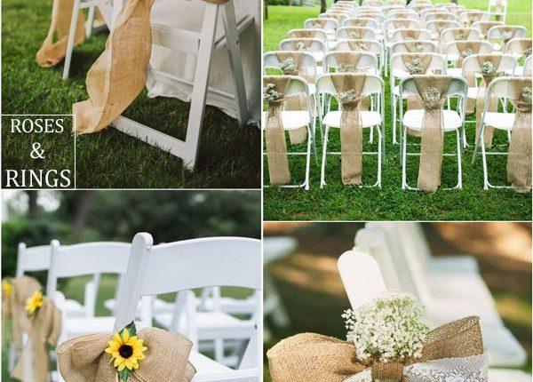 rustic country burlap wedding chair ideas