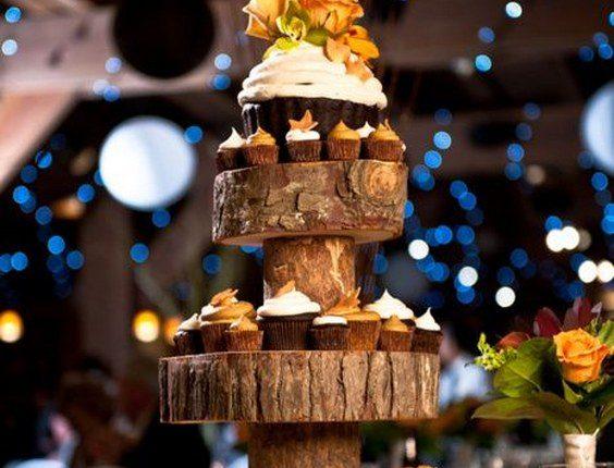 rustic country fall wedding cupcake