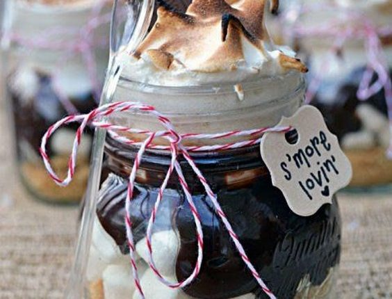 rustic country smores in mason jar wedding favors