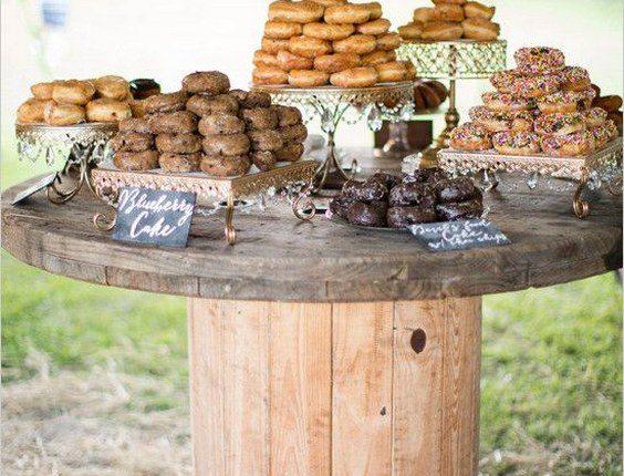 rustic country wedding donut bar