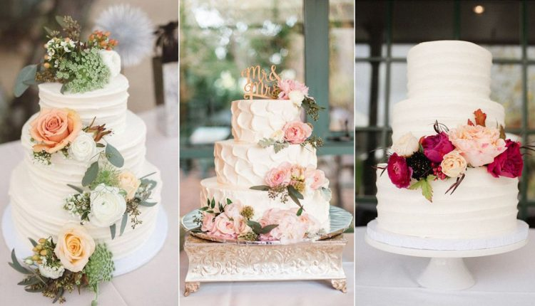 rustic floral white buttercream wedding cakes