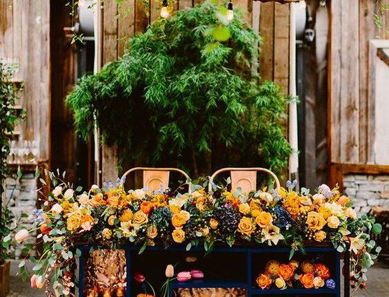 rustic orange and navy wedding head table decor