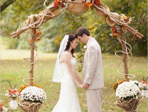 rustic outdoor burlap fall wedding ceremony arch
