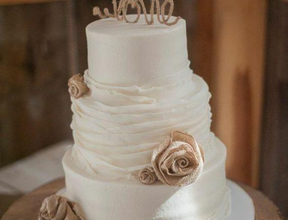 rustic simple burlap wedding cake