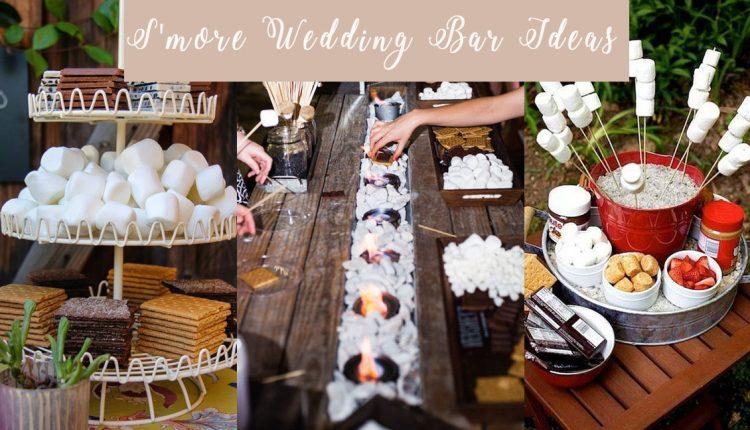 rustic smores wedding bar ideas