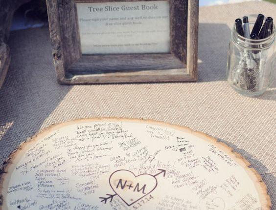 rustic tree stump wood wedding guest book