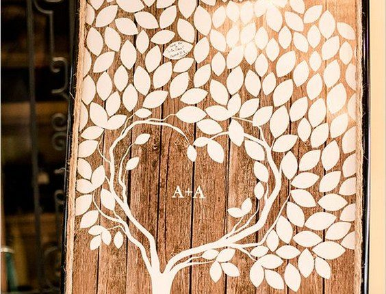 rustic tree wood wedding guest book