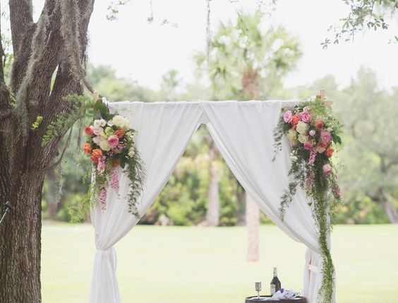 simplar fabric wedding arch