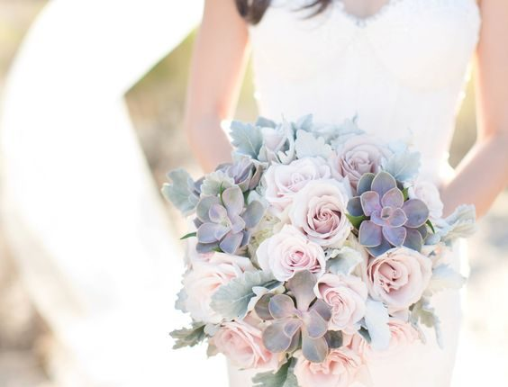 succulent and dusty roses wedding bouquet