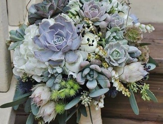 succulent wedding bouquet for a modern foliage wedding