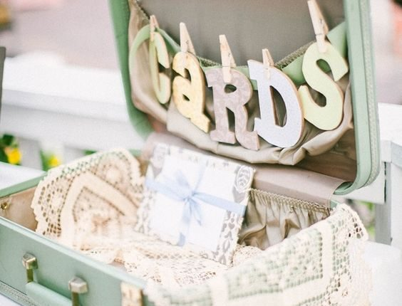 suitcase for cards and wedding gifts