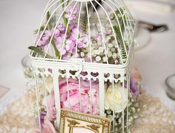 vintage birdcage wedding centerpiece