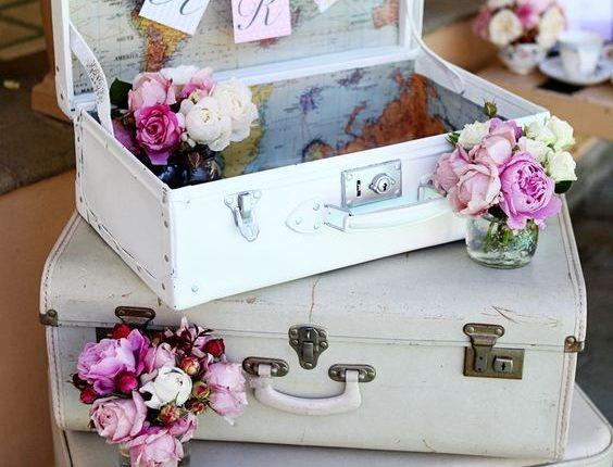 vintage gray suitcase wedding decor