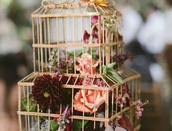 vintage hanging birdcage wedding ideas