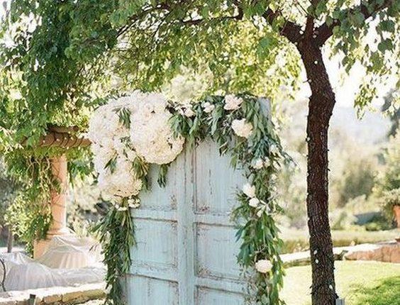 vintage mint green old door weding backdrop