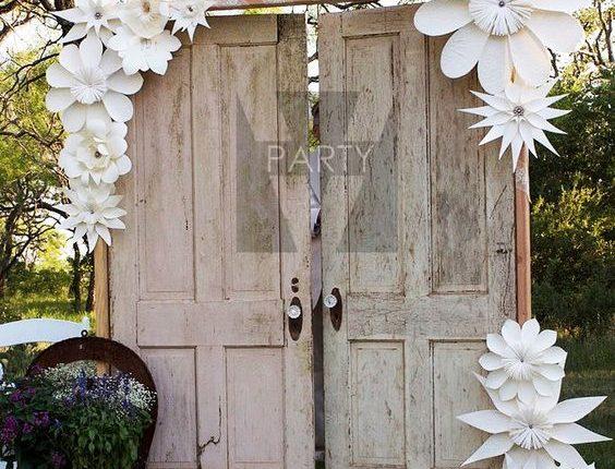 vintage old door and paper flowers wedding backdrop
