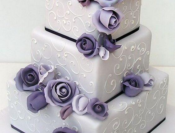 vintage purple square wedding cake