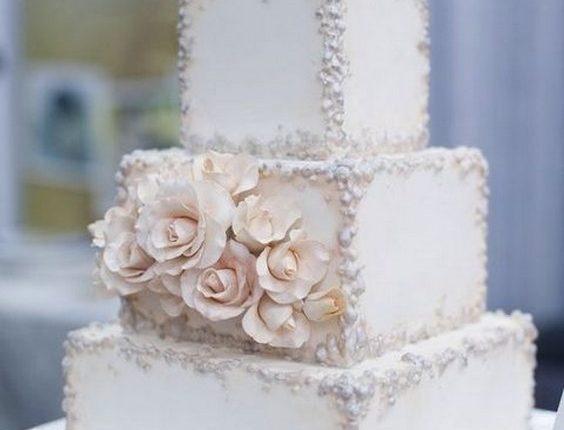 vintage square wedding cakes