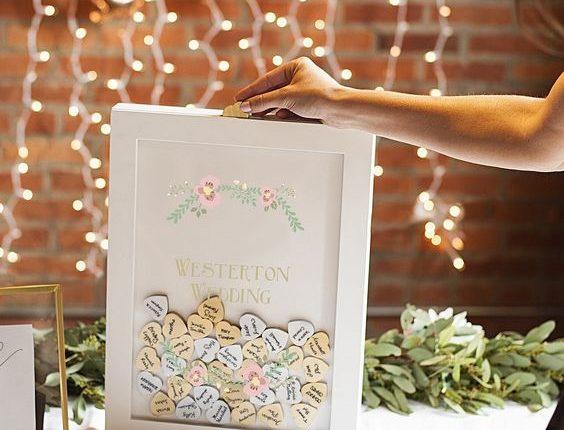 white wedding guest signature shadow box