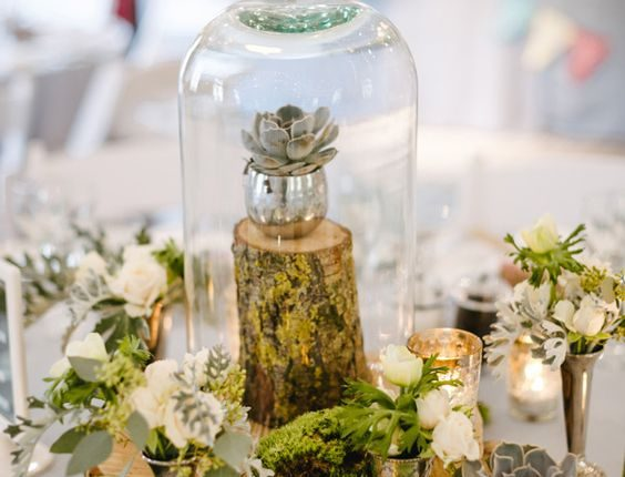 woodland-inspired moss and succulent wedding centerpieces