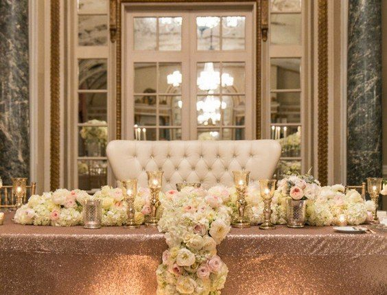 Gorgeous rose gold and ivory sweetheart table