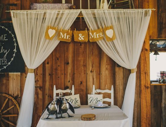 Indoor Barn Wedding Reception Sweetheart Table with Wooden Table and Chairs