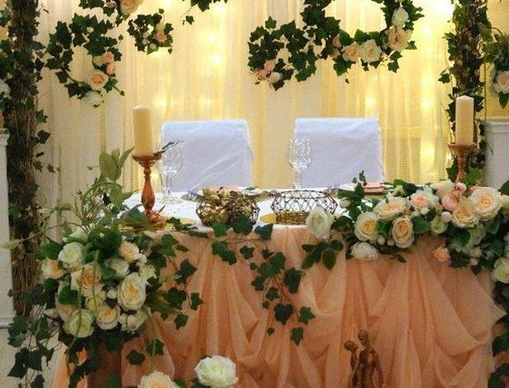 ivory and greenery wedding sweetheart table idea